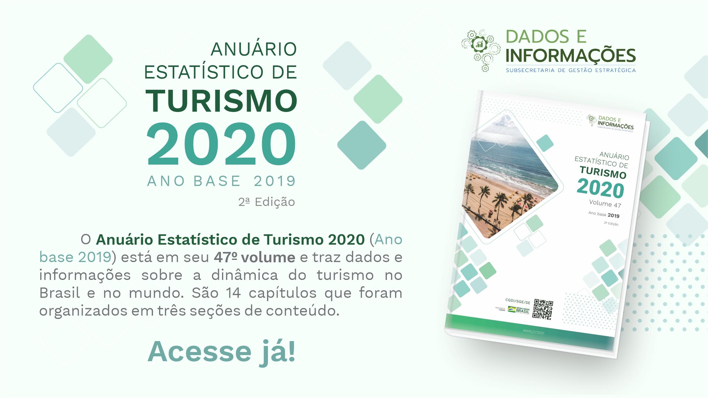 Publicado o Anuário Estatístico de Turismo 2020 - Ano Base 2019 - 2ª edição
